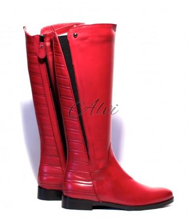 Stivali rossi bassi con zip
