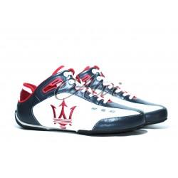 Sneakers Maserati blu rosse e bianche in caviglia