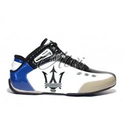 Sneakers Maserati bianche blu e nere alte in caviglia
