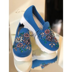 Slip-on blu gioiello